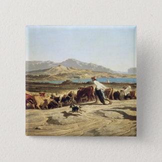 Cattle herding near Marseilles, 1853 (oil on canva Pinback Button