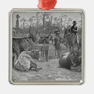 Cattle in a Kansas Corn Corral Metal Ornament