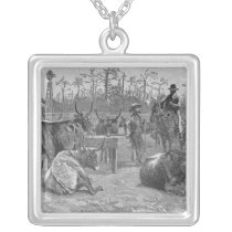 Cattle in a Kansas Corn Corral Silver Plated Necklace