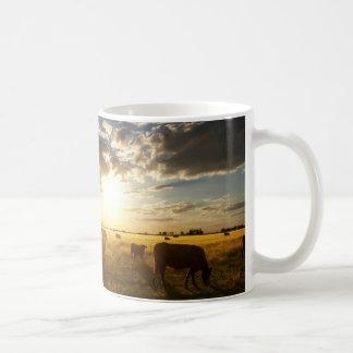 Cattle In Field, Sunset Coffee Mug