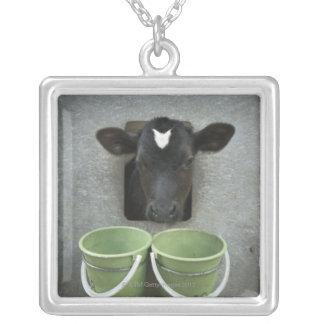 Cattle, Individual Pen Square Pendant Necklace