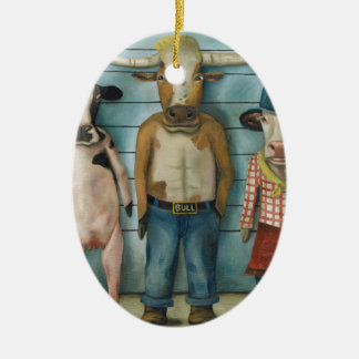 Cattle Line Up Ceramic Ornament