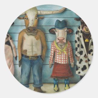 Cattle Line Up Classic Round Sticker