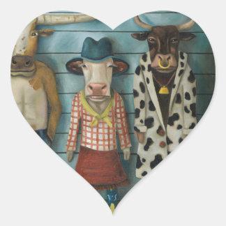 Cattle Line Up Heart Sticker