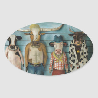 Cattle Line Up Oval Sticker
