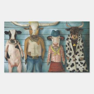 Cattle Line Up Rectangular Sticker