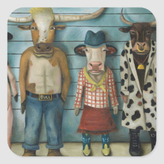 Cattle Line Up Square Sticker