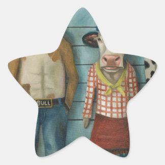 Cattle Line Up Star Sticker