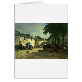 Cattle market at Daoulas, Brittany by Eugene Boudi Card