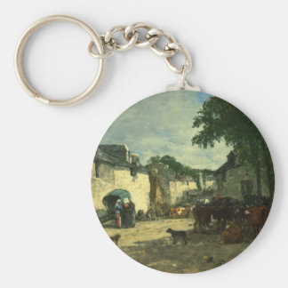 Cattle market at Daoulas, Brittany by Eugene Boudi Keychain