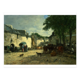 Cattle market at Daoulas, Brittany by Eugene Boudi Postcard