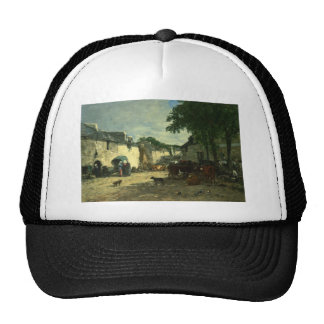 Cattle market at Daoulas, Brittany by Eugene Boudi Trucker Hat