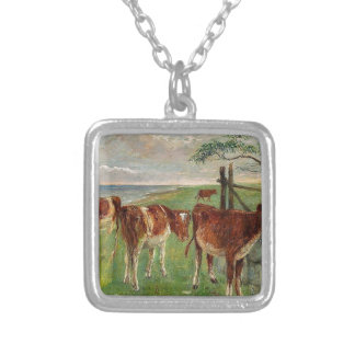 Cattle near a gate, Saltholm by Theodor Philipsen Square Pendant Necklace