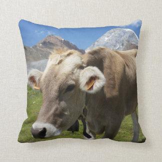 Cattle of the Bruna Alpina Throw Pillow