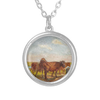 Cattle on Saltholm by Theodor Philipsen Round Pendant Necklace