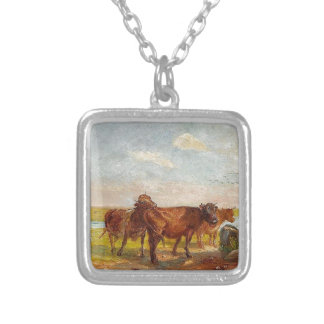 Cattle on Saltholm by Theodor Philipsen Square Pendant Necklace