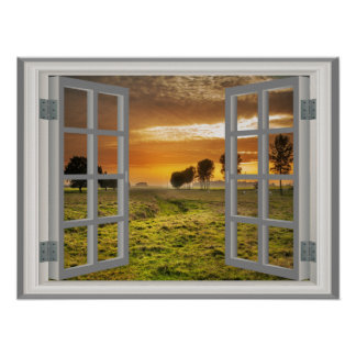 Cattle Ranch Faux Window Countryside Twilight Poster