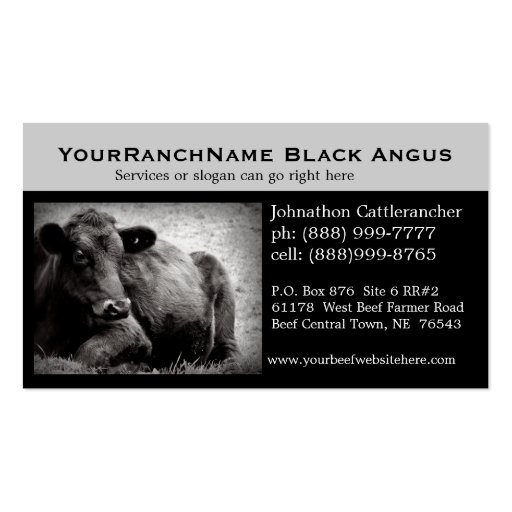 Cattle Ranch or Beef Related Business Cards