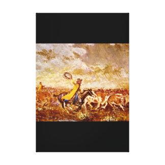 Cattle Stampede', Olaf C_Art of America Canvas Print