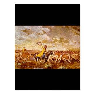Cattle Stampede', Olaf C_Art of America Postcard