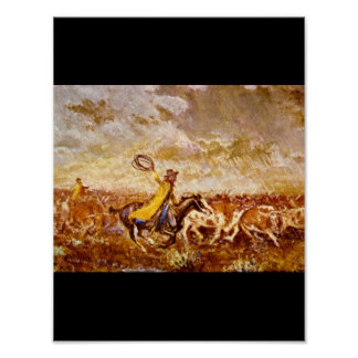 Cattle Stampede', Olaf C_Art of America Poster