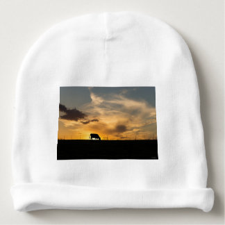 Cattle Sunset Silhouette Baby Beanie