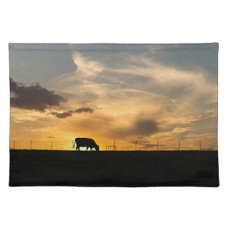 Cattle Sunset Silhouette Cloth Placemat