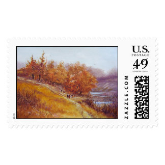 Cattle walking the path-stamps
