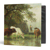 Cattle Watering in a River Landscape 3 Ring Binder