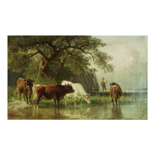 Cattle Watering in a River Landscape Posters