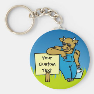 Cattle with sign keychain