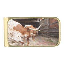 Cattleman's Moneyclip Gold Finish Money Clip