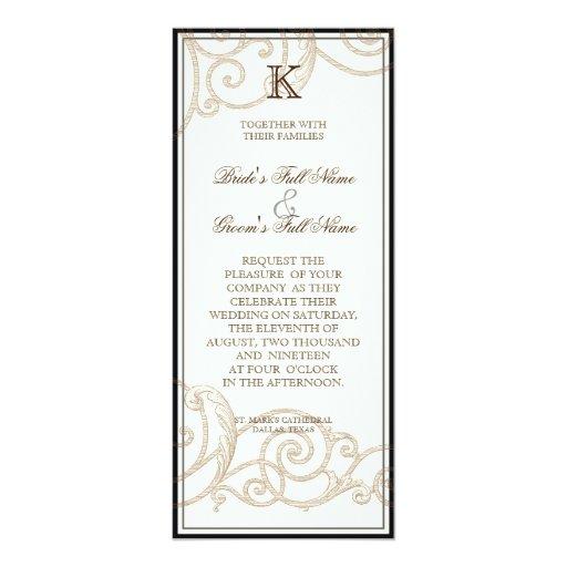 "Cattleya Orchid Black Cream - Wedding Invitation 4"" X 9.25"" Invitation Card"