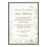 Cattleya Orchid Cream Black - Floral Bridal Shower 5x7 Paper Invitation Card