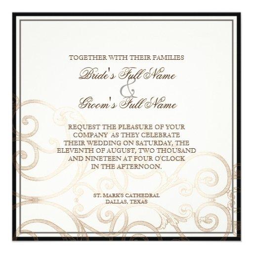 Cattleya Orchid Cream Black - Wedding Invitation