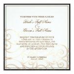 "Cattleya Orchid Cream Black - Wedding Invitation 5.25"" Square Invitation Card"