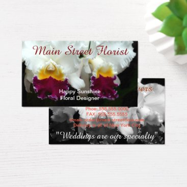 Professional Business Cattleya Orchid White and Red Flowers Business Card