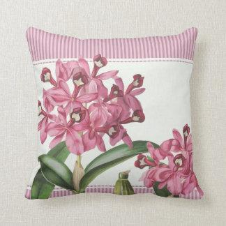 Cattleya Pink Orchid Throw Pillows