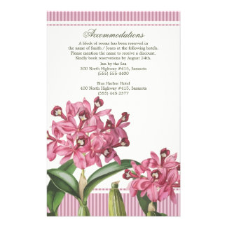 Cattleya Pink Orchid Wedding Directions Customized Stationery