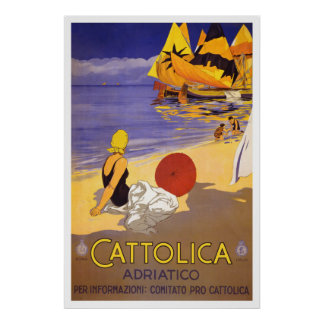 """Cattolica"" Vintage Italian Travel Poster"