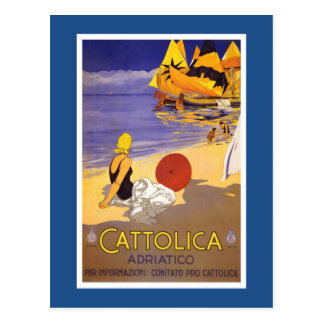Cattolica Vintage Italian Travel Poster Postcard