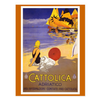 """Cattolica"" Vintage Italian Travel Poster Postcard"