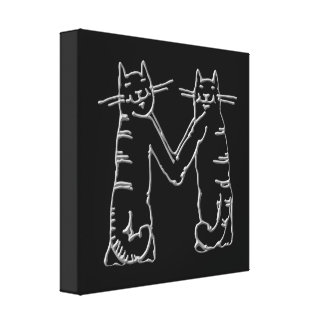 Catty Letter M Gallery Wrapped Canvas
