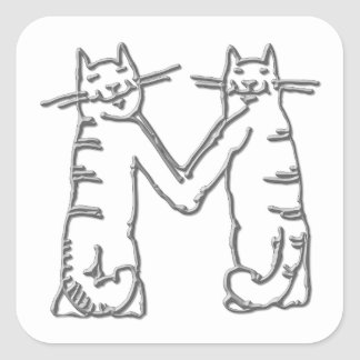 Catty Letter M Square Stickers