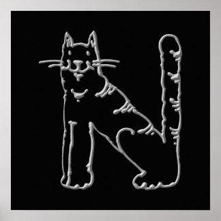 Catty Letter N Print