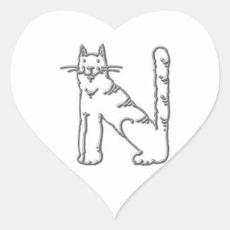Catty Letter N Heart Sticker