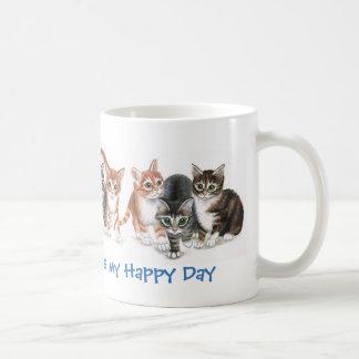 Caturday es mi día feliz, ofreciendo gatitos, taza
