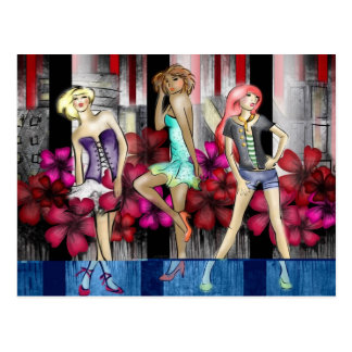 Catwalk Fashion Teenage Girls Funky Modern Art Postcard