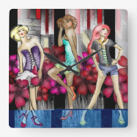 Catwalk Fashion Teenage Girls Funky Modern Art Square Wall Clock