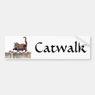 Catwalk - kitty walks on the fence, Sumi-e Bumper Sticker